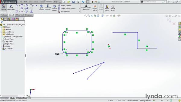 Applying fillets and chamfers to a sketch: SOLIDWORKS 2014 Essential Training