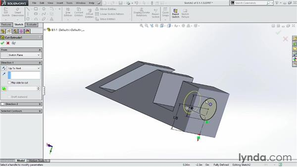 Modifying parts using the Extruded Cut tool: SOLIDWORKS 2014 Essential Training