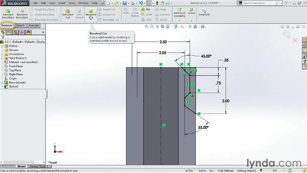 Working with the Revolved Cut tool: SOLIDWORKS 2014 Essential Training