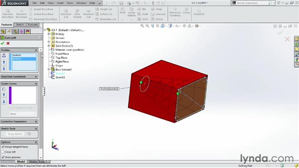 Using the Lofted Cut tool: SOLIDWORKS 2014 Essential Training