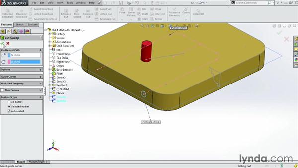 Cutting holes and grooves with the Swept Cut tool: SOLIDWORKS 2014 Essential Training