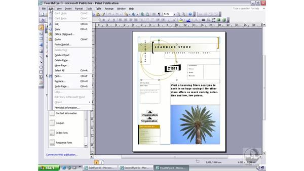 deleting objects and frames: Publisher 2003 Essential Training
