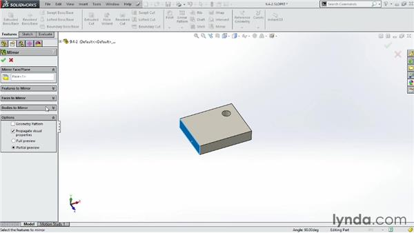 Mirroring objects: SOLIDWORKS 2014 Essential Training
