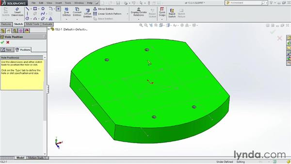 Positioning holes in layout sketches: SOLIDWORKS 2014 Essential Training