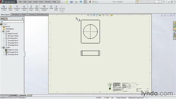 Adding model views to a drawing: SOLIDWORKS 2014 Essential Training