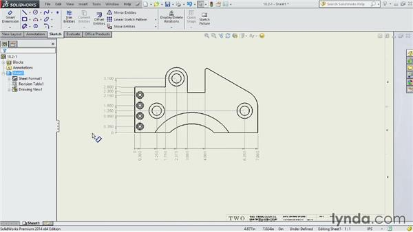 Creating ordinate and running dimensions: SOLIDWORKS 2014 Essential Training