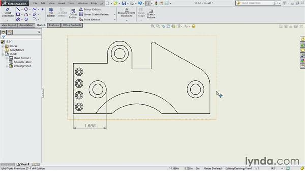 Dimensioning holes and curved features: SOLIDWORKS 2014 Essential Training