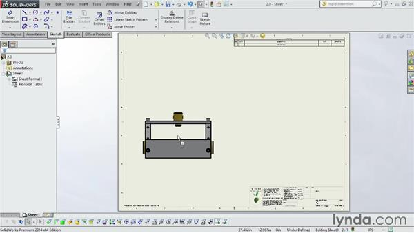 Adding assemblies to drawings: SOLIDWORKS 2014 Essential Training
