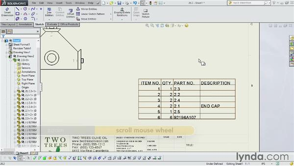 Including a bill of materials: SOLIDWORKS 2014 Essential Training