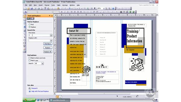 using find & replace: Publisher 2003 Essential Training