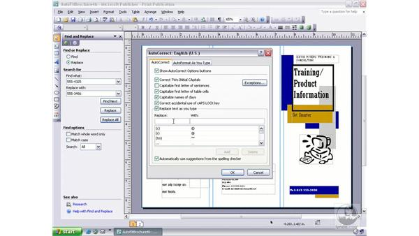using autocorrect: Publisher 2003 Essential Training