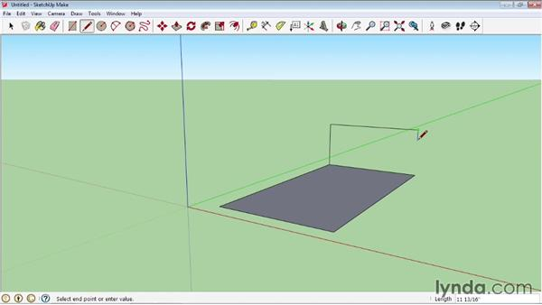 Using the Line tool for 3D drawing: SketchUp 2013 Essential Training