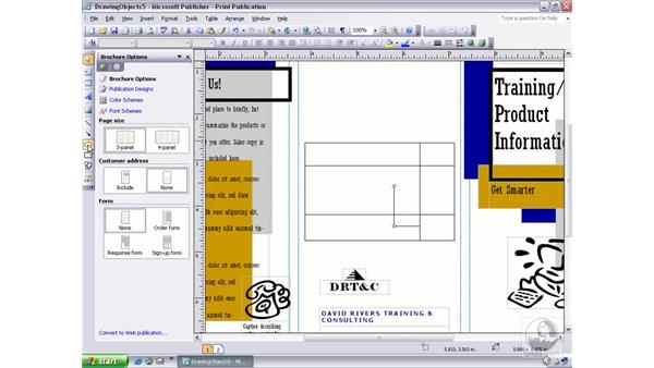 drawing lines, arrows, ovals, and rectangles: Publisher 2003 Essential Training