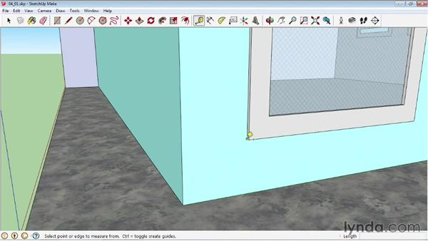 Using the Tape Measure tool to create guidelines: SketchUp 2013 Essential Training