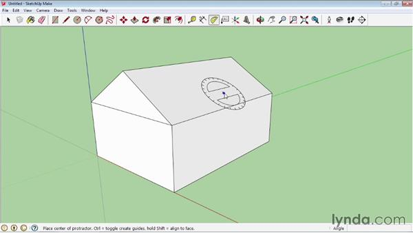 Using the Protractor tool: SketchUp 2013 Essential Training