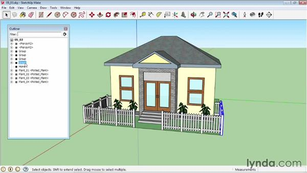 Using the Outliner and Entity Info: SketchUp 2013 Essential Training