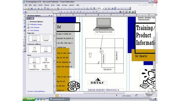 drawing freeform objects: Publisher 2003 Essential Training