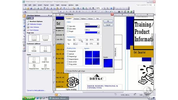 changing fill and line colors: Publisher 2003 Essential Training