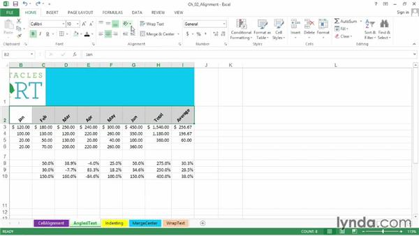 Creating angled text variations for greater variety and readability: Excel 2013: Advanced Formatting Techniques