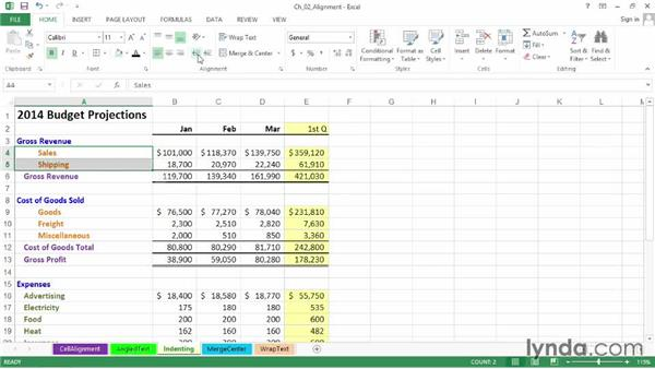 Indenting data and dollar signs: Excel 2013: Advanced Formatting Techniques