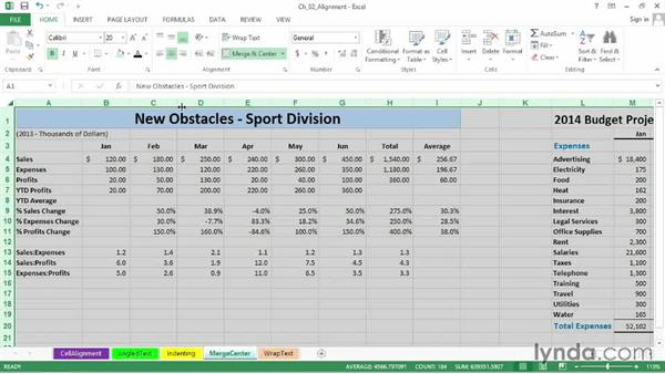 Simplifying title adjustments with the Merge & Center button: Excel 2013: Advanced Formatting Techniques