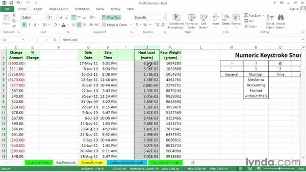 Essential numeric formatting keystroke shortcuts: Excel 2013: Advanced Formatting Techniques