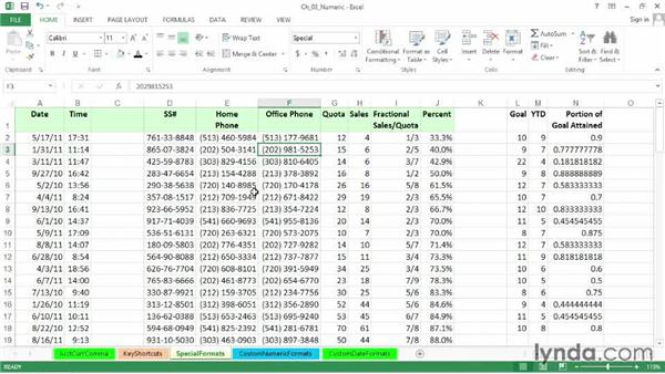 Setting special formats for dates, times, phone numbers, ZIP codes, etc.: Excel 2013: Advanced Formatting Techniques
