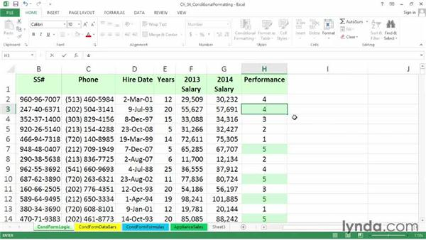 Creating value-based formatting using logical operators: Excel 2013: Advanced Formatting Techniques