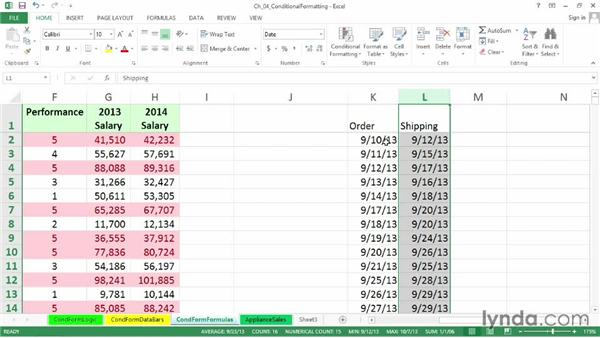 Creating formats based on formulas: Excel 2013: Advanced Formatting Techniques