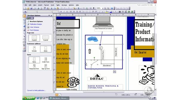 selecting multiple objects: Publisher 2003 Essential Training