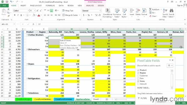 Conditional formatting in PivotTables: Excel 2013: Advanced Formatting Techniques
