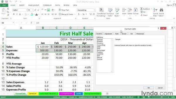 Using the multipurpose Format Cells dialog box and the pop-up mini-toolbar: Excel 2013: Advanced Formatting Techniques