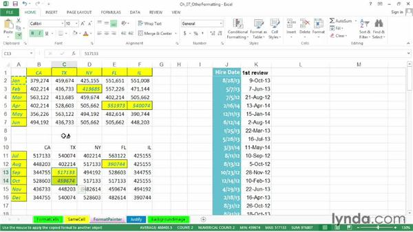 Copying formats quickly with dragging techniques and the Format Painter: Excel 2013: Advanced Formatting Techniques