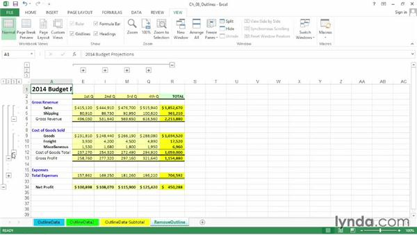 Using outlining symbols and levels: Excel 2013: Advanced Formatting Techniques