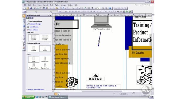 the undo and redo buttons: Publisher 2003 Essential Training