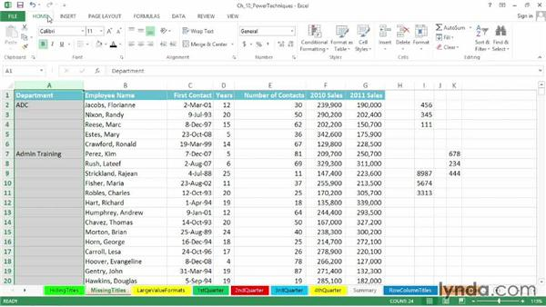 Restoring missing title data in a column: Excel 2013: Advanced Formatting Techniques