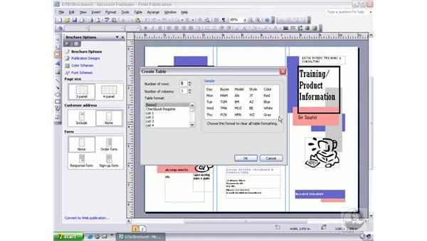 inserting a table and preset format: Publisher 2003 Essential Training