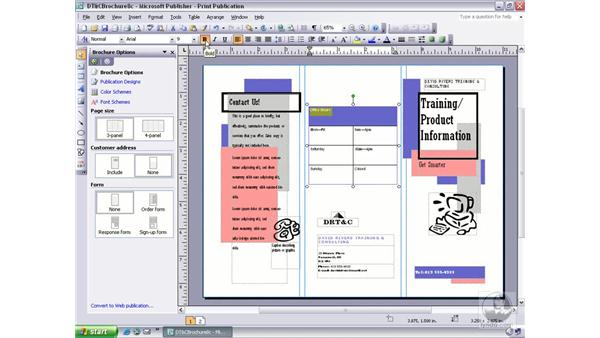 formatting cell text: Publisher 2003 Essential Training