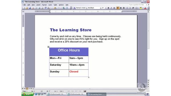 copying a table from Microsoft Word: Publisher 2003 Essential Training