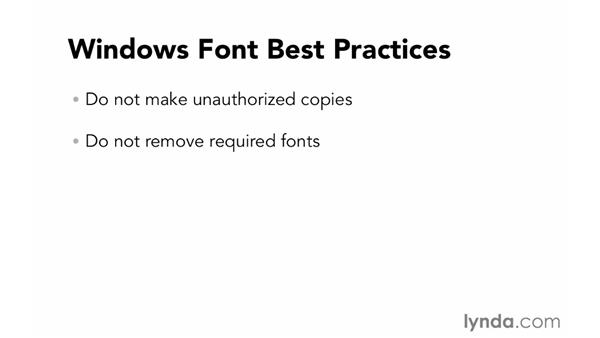 Best practices for manual font organization in Windows: Font Management Essential Training
