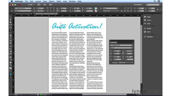 Using font auto-activation: Font Management Essential Training