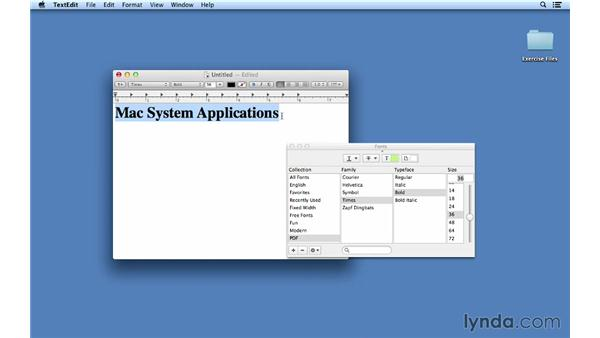 Using fonts in Mac system applications: Font Management Essential Training