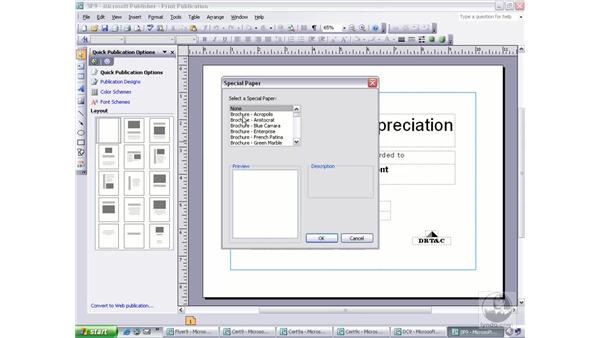 using special paper view: Publisher 2003 Essential Training