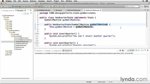 Implementing the state pattern: Foundations of Programming: Design Patterns