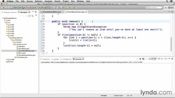 Implementing with Java's built-in iterators: Foundations of Programming: Design Patterns