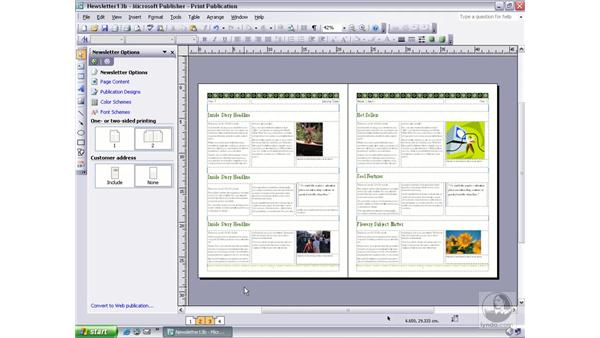 using the two page spread view: Publisher 2003 Essential Training