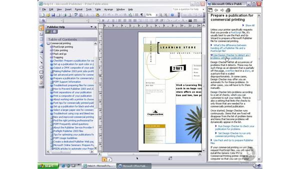 using the table of contents: Publisher 2003 Essential Training