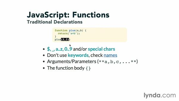 Declaring functions: JavaScript: Functions