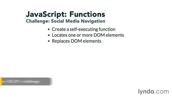 Challenge: Social media navigation: JavaScript: Functions