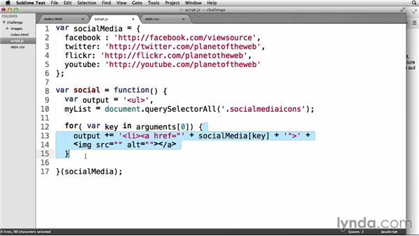 Solution: Social media navbar: JavaScript: Functions